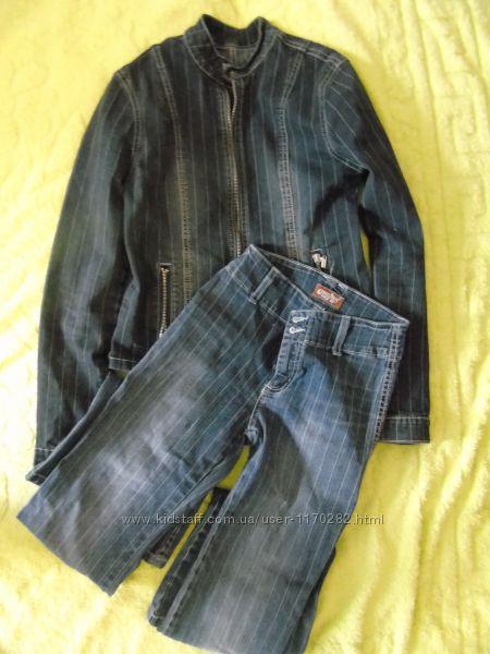 Женский джинсовый брючный костюм доставка