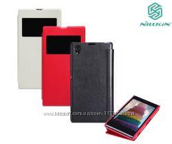 Кожаный чехол книжка Nillkin для Sony Xperia Z1  пленка