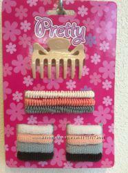 Набор аксессуаров для волос, резинки, крабы, краб, набор резинок, резинка