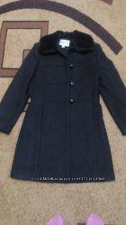 Пальто шерсть с меховым воротником