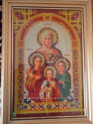 икона выш. бисером в рамкеСвятые мученицы Вера, Надежда, Любовь и Софья Со