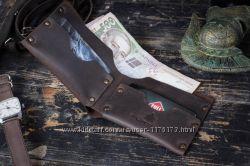 Коричневый мужской кожаный кошелек портмоне Roks