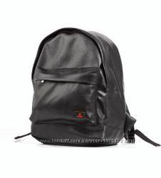 Черный кожаный рюкзак мужской S Sport PU кожа городской средний размер