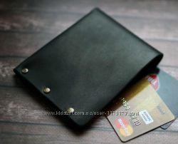 Черный Мужской кожаный кошелек ROKS портмоне бумажник мужской