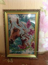 Продам картину бисером Зимняя красавица