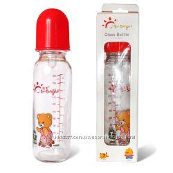 Стеклянная бутылочка изогнутой формы с силиконовой соской, 125 мл