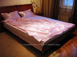 Атласное постельное евроразмер розовый