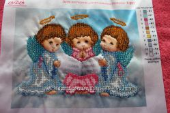 Трио ангелочков, вышиты бисером