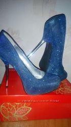 Туфли синие с серебристой нитью
