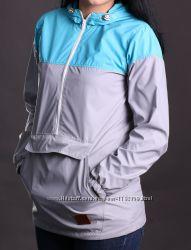 Женская ветровка анорак Node серый с голубым