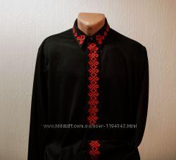 Мужская вышиванка Красное на черном