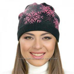 Женские шапки с узором снежинка разные цвета ФЛИС