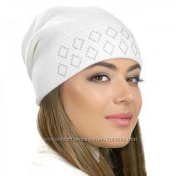 Женские шапки со стразами розовая серая белая