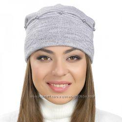 Женские шапки с бусинами и стразами серые коричневые бежевые