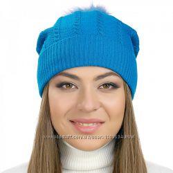 Женская шапка с узором волна синяя белая серая