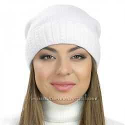 Женская шапки с узором косичка белая серая бежевая