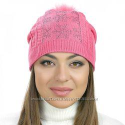 Женские шапки со стразами розовая коричневая