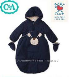 Тёплый комбинезон-мешок 2в1 С&A Baby club 74 см