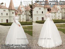 Нова Пишна кружевна весільна сукня 2015 А-сілует Вікторія салон Bride