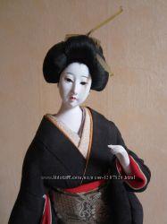 Интерьерная винтажная коллекционная традиционная японская кукла в кимоно