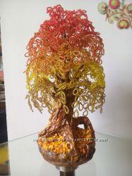 Огненное дерево из бисера ручной работы