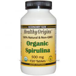 Healthy Origins, Органическая спирулина, 500 мг, 180 360 720 табл США