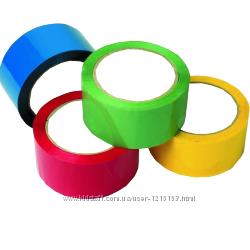 Скотч упаковочный цветной жел. , красн. , синий, зеленый 48х100