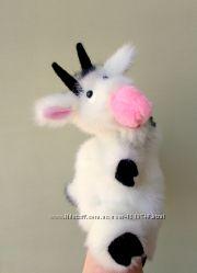 Белый козлик, игрушка перчатка для кукольного театра. Бибабо.