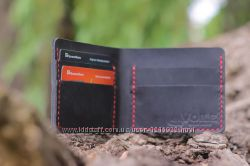 Мужской кожаный бумажник ручной работы VOILE mw1 blk-red