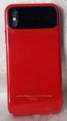 Чехол и стекло iPhone X  красный и розовое зеркало