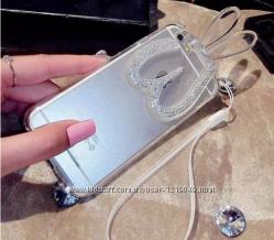 силиконовый зайчик складный уши со стразами для iPhone 66S