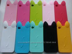Силиконовый чехол кот iphone 4 4S с ушками и лапками