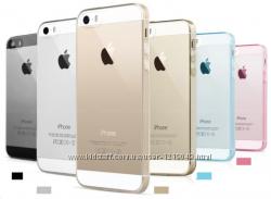 Прозрачный и золотой тонкий силиконовый чехол iphone 4 4s 5 5s
