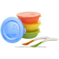 Тарелочки набор Munchkin для деток с 6месяцев, с крышками и 2 ложечками