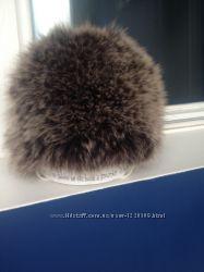 Стильная тёплая шапка из натурального вязаного меха
