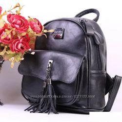 c5e038ea93eb Рюкзак женский городской для девушек экокожа черный серый стильный ...