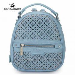 Рюкзак женский David Jones Девид Джонс с перфорацией голубой экокожа