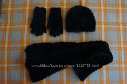 Женская шапочка, шарфик, перчатки
