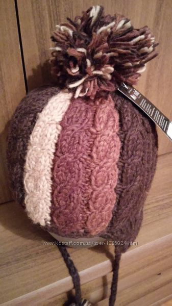 Шапка вязаная шлем MOSHIKI шерсть шерстяная вовна вовняна на флисе 55-56