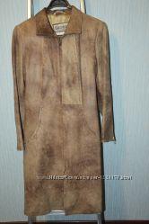 женский кожаный плащ-френч, размер 44