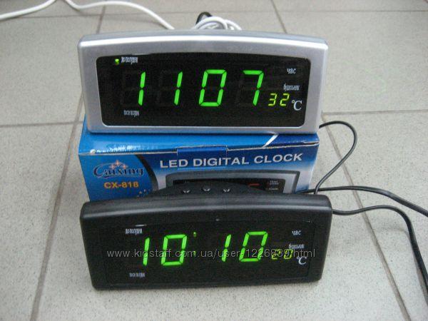 Часы электронные с температурой, 220 V. Светящиеся, 8 будильников