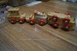 локомотив и вагончики, набор игрушек, дерево