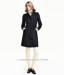 черное пальто размер 38 H&M