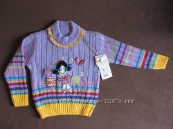 Яркий Джемпер вязаный, свитер, Сирия, принт - девочка