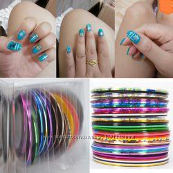 Ленты, стразы, наклейки  для дизайна ногтей