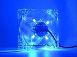 Кулер, вентилятор для компьютера с синей LED подсветкой, светодиодами