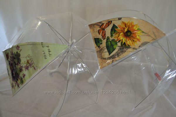 Прозрачный женский зонтик-трость 5103 грибком от фирмы Monsoon.
