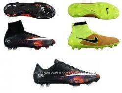 Футбольные бутсы Nike, силуэты Mercurial, Tiempo, Hypervenom, Magista, Pre