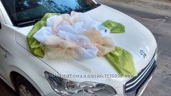 Свадебное украшение из ткани ручной работы на машину, прокат