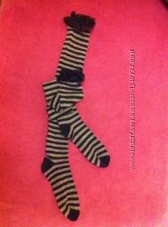 Гетры-чулки серо-черные в полоску с кружевной отделкой